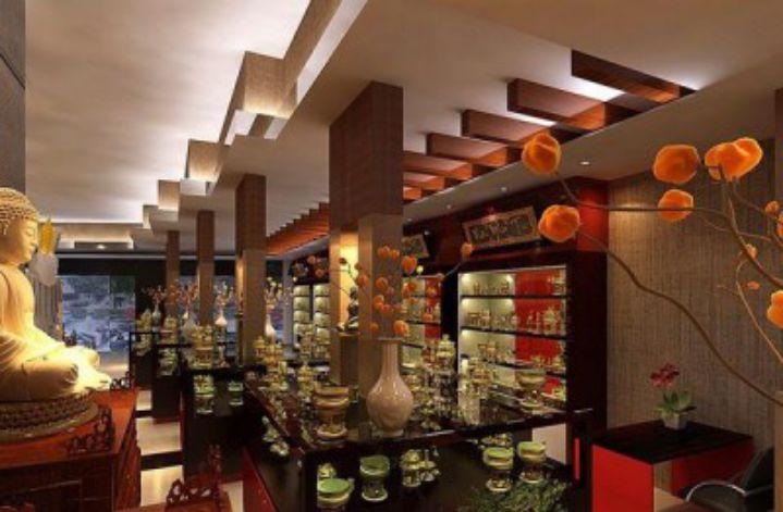 Đỏ và đen là hai màu sắc được ưu tiên sử dụng trong showroom phong cách Trung Quốc