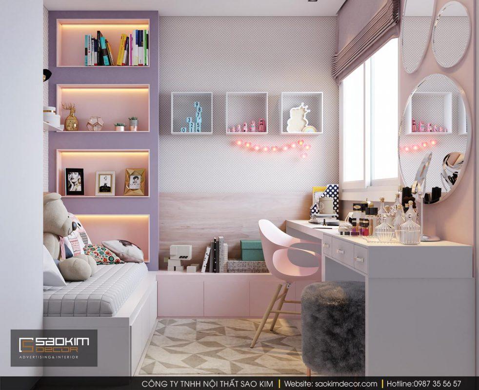 Những góc nhỏ xinh vô cùng đáng yêu trong thiết kế nội thất chung cư cho phòng ngủ bé gái