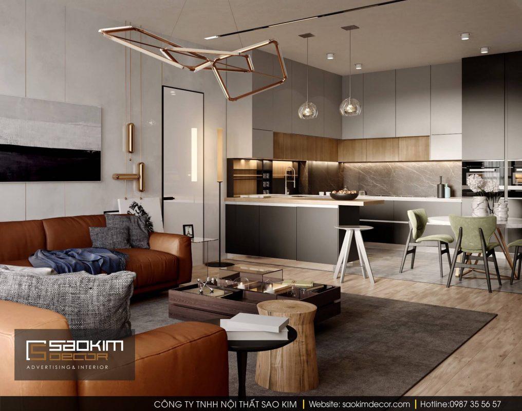 Thiết kế nội thất chung cư mở với phòng khách và phòng ăn kết nối với nhau