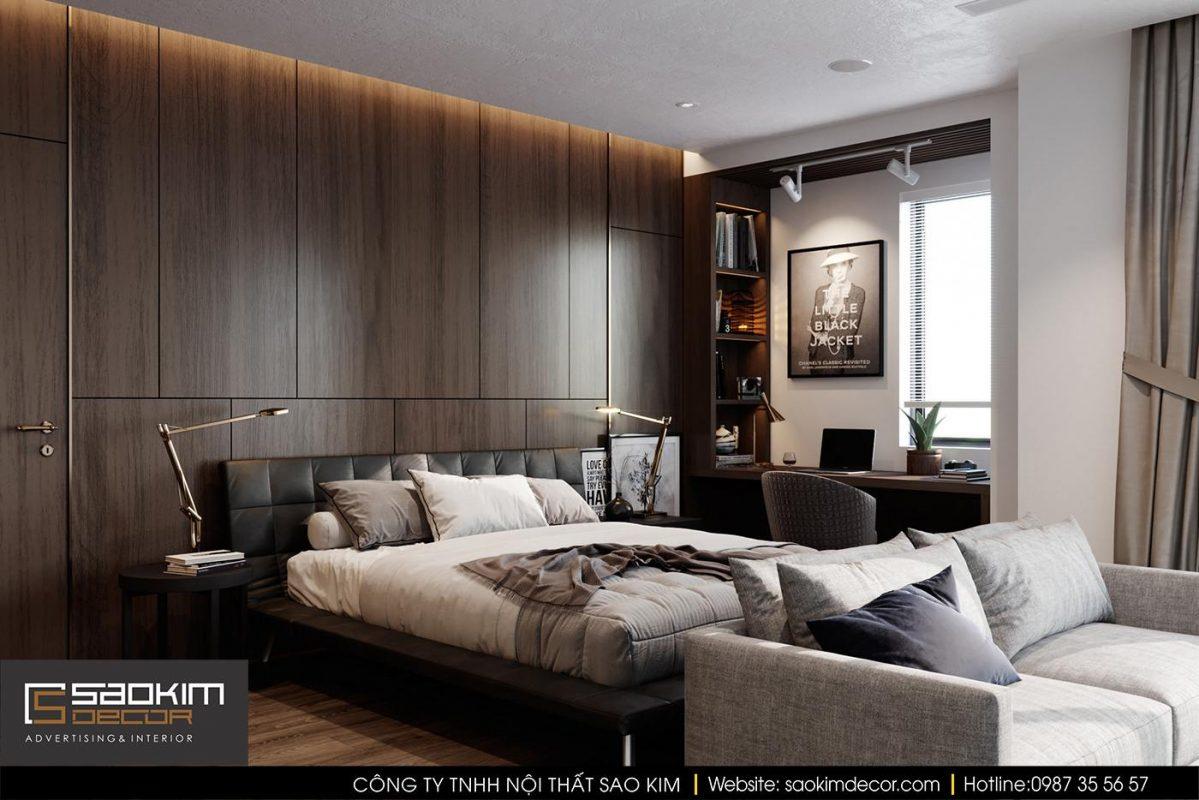 Thiết kế nội thất chung cư với phòng ngủ hiện đại, sang trọng