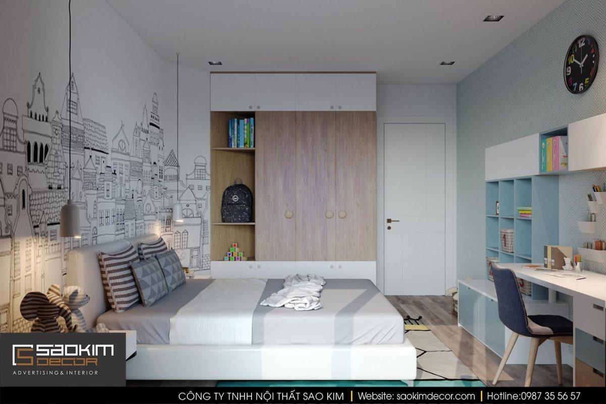 Thiết kế nội thất phòng ngủ bé trai với góc học tập ngăn nắp