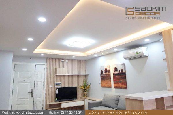 Thiết kế thi công phòng khách căn hộ chung cư 98m2 FLC Garden City