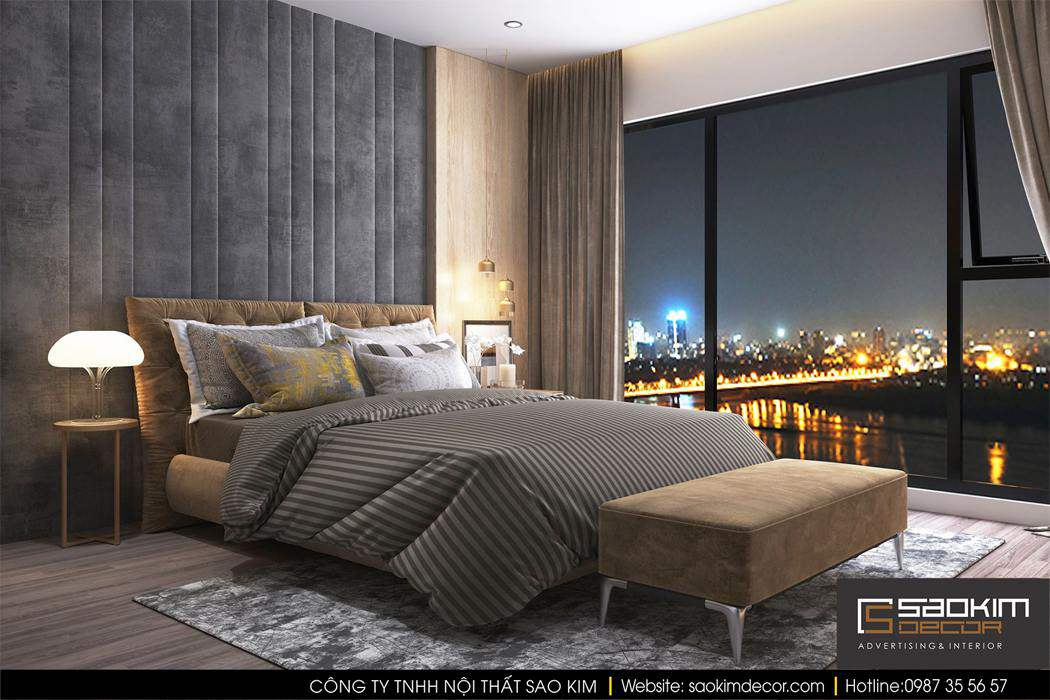 Thiết kế phòng ngủ chung cư cao cấp Mipec Riverside