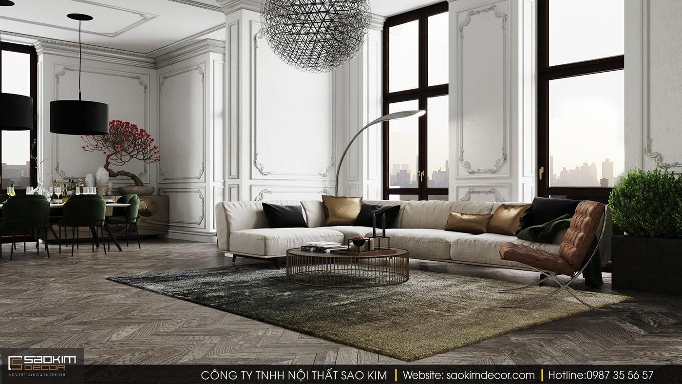 Thiết kế nội thất chung cư với phòng khách tân cổ điển đẹp