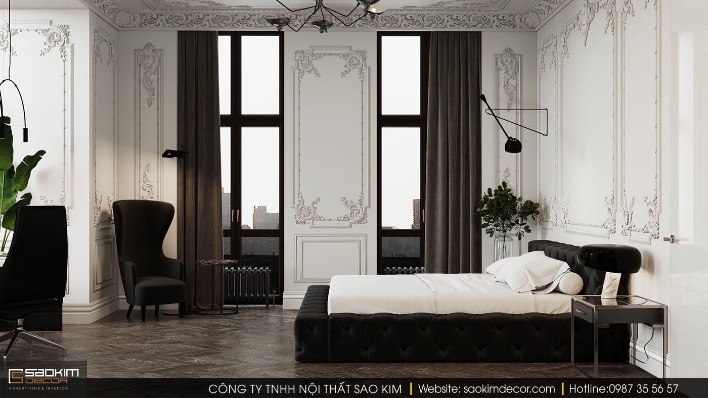 Thiết kế nội thất chung cư tân cổ điển với màu trắng