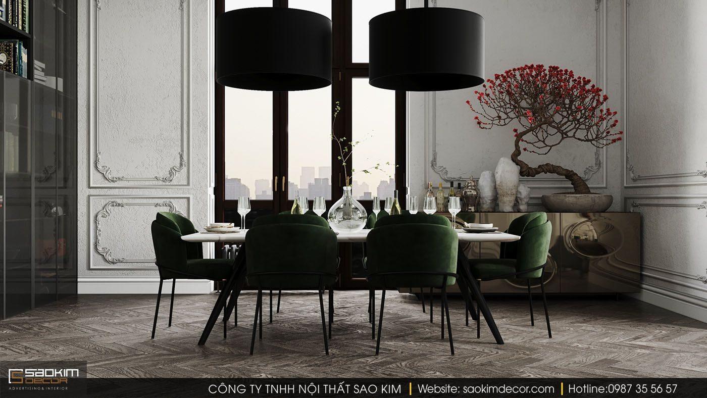 Thiết kế nội thất chung cư phong cách tân cổ điển cho khu vực bàn ăn
