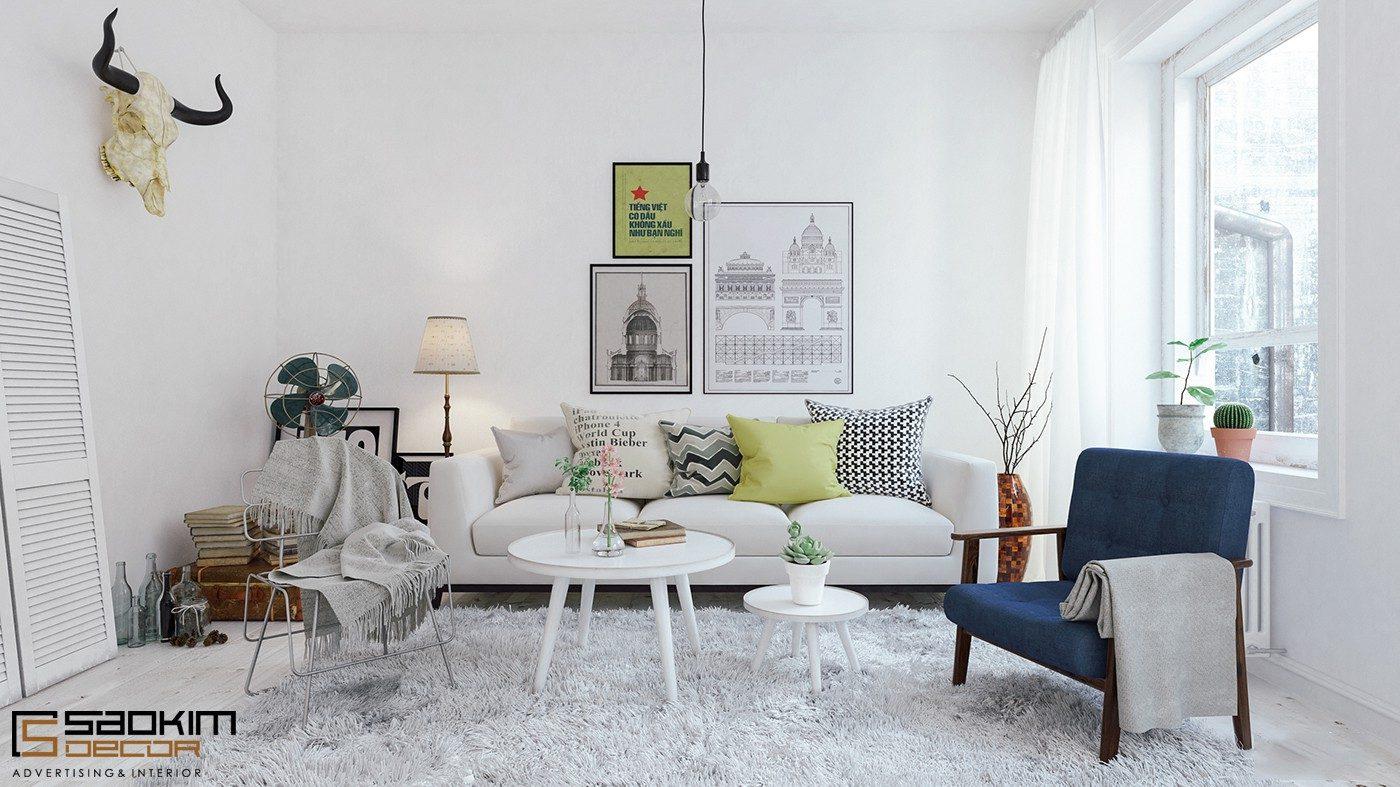 Phong cách thiết kế nội thất Scandinavian sử dụng các gam màu đơn sắc, cơ bản nhất trong thiết kế