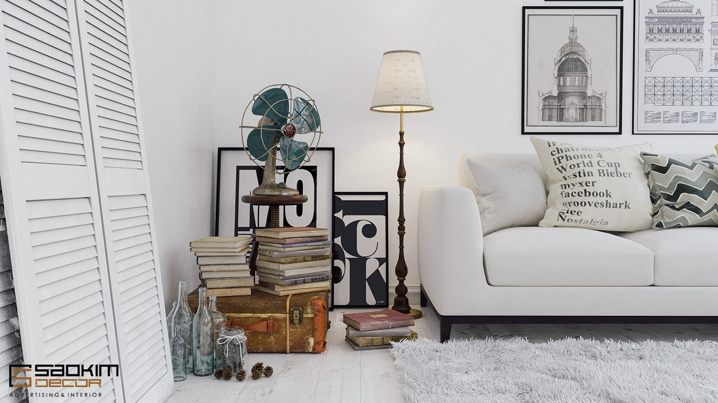 Đồ nội thất trong căn nhà được sắp xếp gọn gàng và tối giản