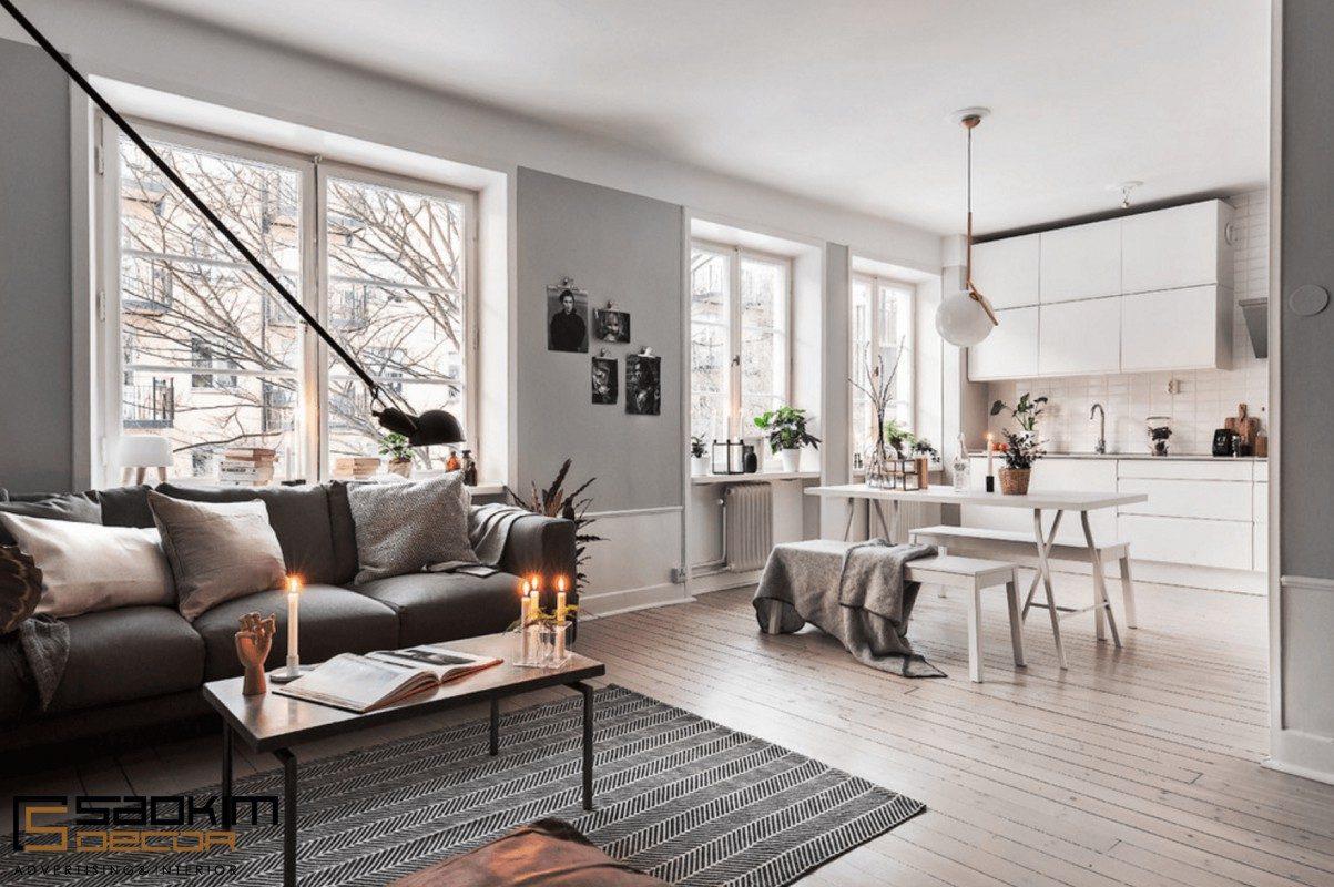 Khi thiết kế nội thất chung cư theo phong cách Scandinavian thường sử dụng những không gian mở
