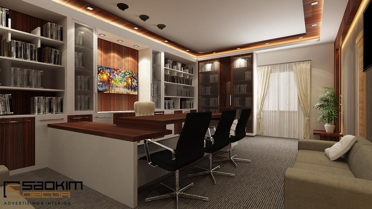 Thiết kế nội thất phòng giám đốc cần chọn mẫu tủ phù hợp nội thất căn phòng và có thiết kế hiện đại, tiện nghi