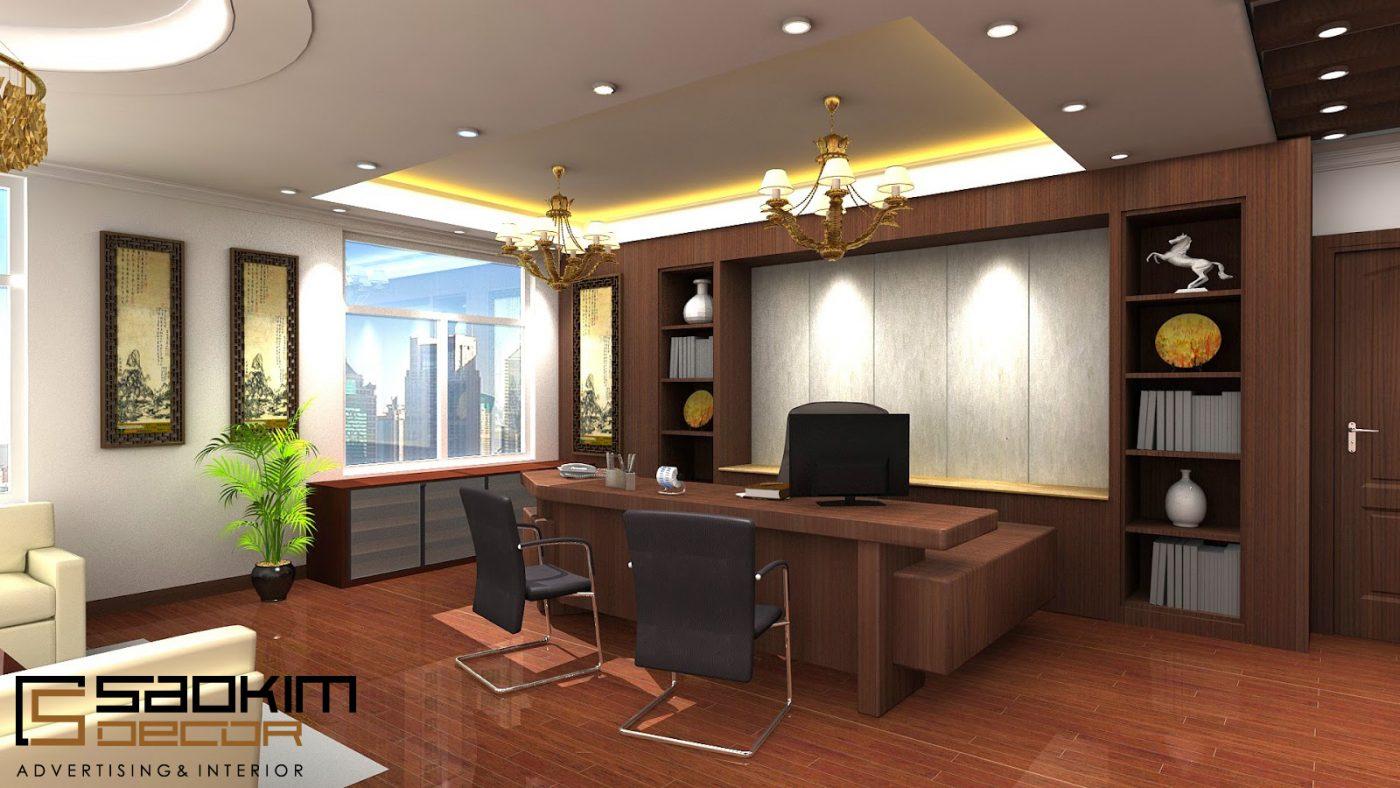 Thiết kế nội thất văn phòngcông ty, phòng giám đốc nên đặt ở vị trí đẹp nhất, có hướng nhìn ra ngoài