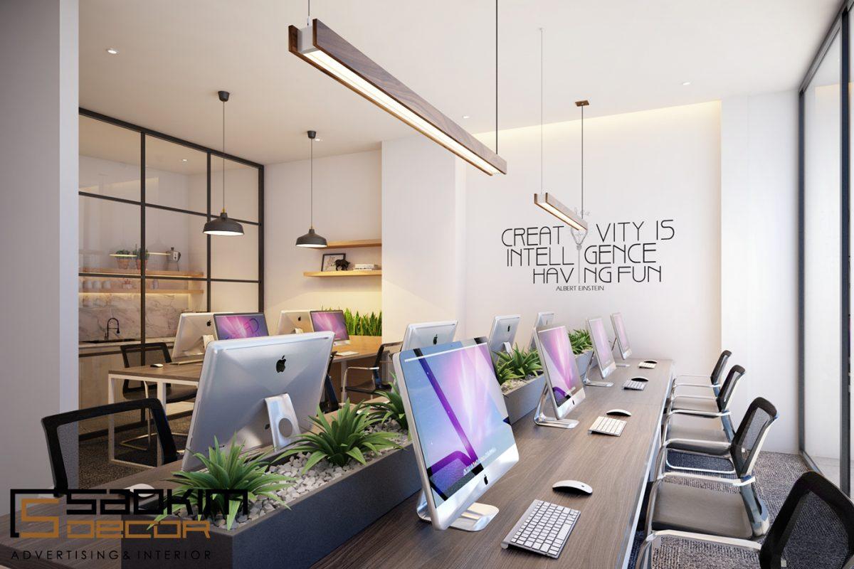 Thiết kế nội thất văn phòng làm việc nhân viên đề cao yêu cầu thẩm mĩ