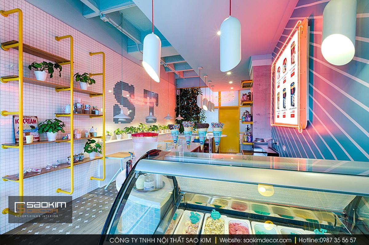 Thiết kế nội thất cửa hàng kem Soft Touch