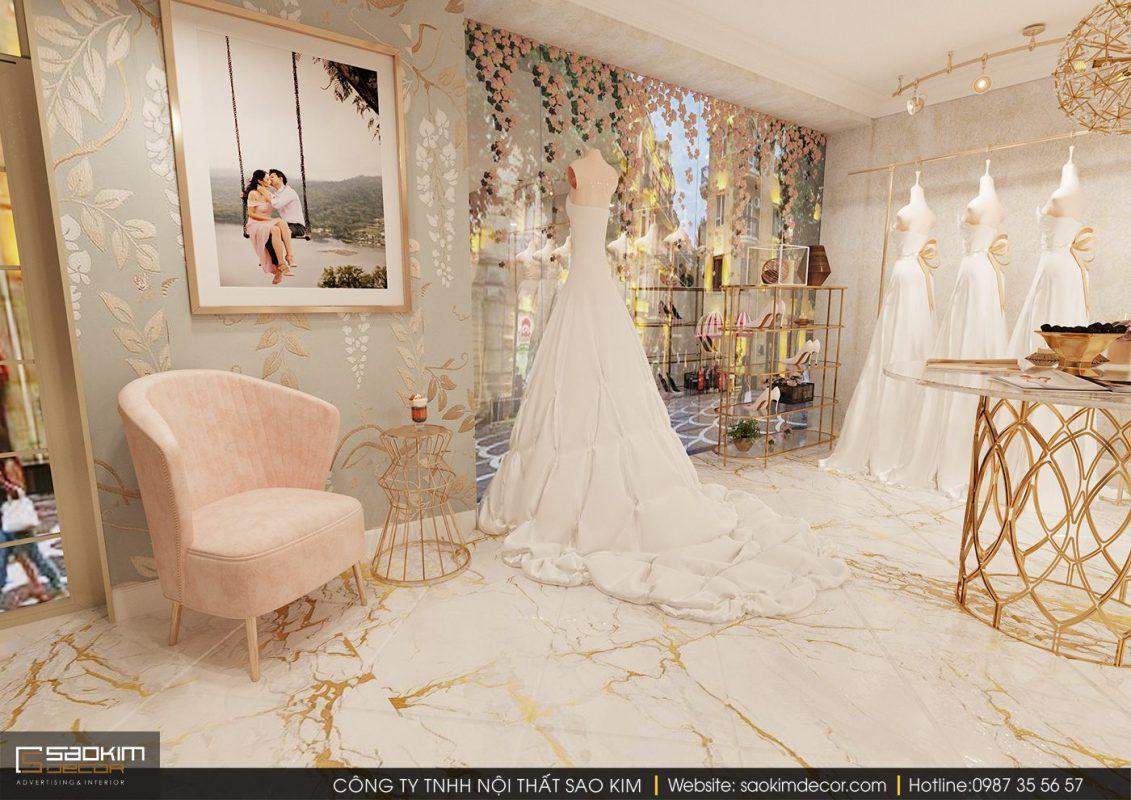 Thiết kế nội thất showroom áo cưới thu hút cần có sự sang trọng, ấn tượng