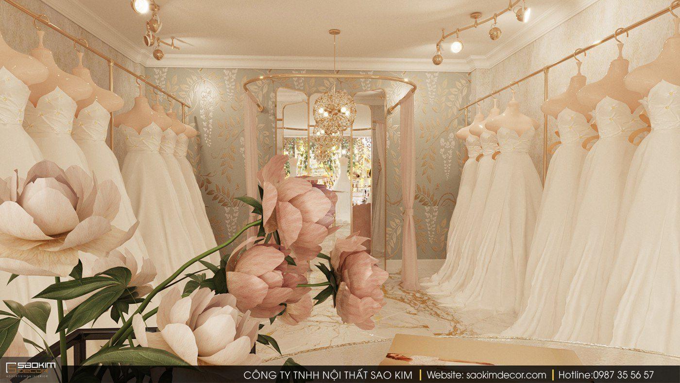 Thiết kế nội thất showroom áo cưới cần bố trí nội thất, ánh sáng cũng như màu sắc hợp lí