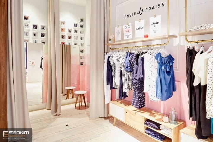 Thiết kế nội thất shop với khu trưng bày quần áo đẹp