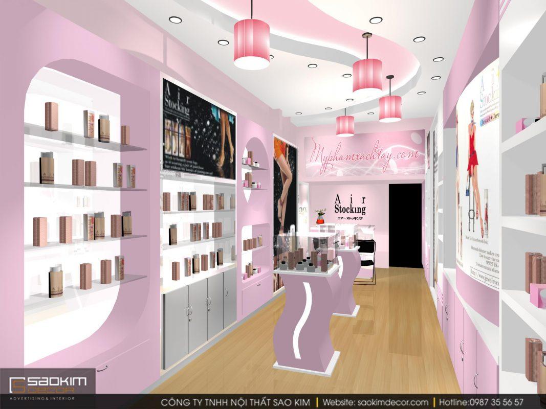 Thiết kế showroom mỹ phẩm thì cái đẹp càng cần được chú trọng