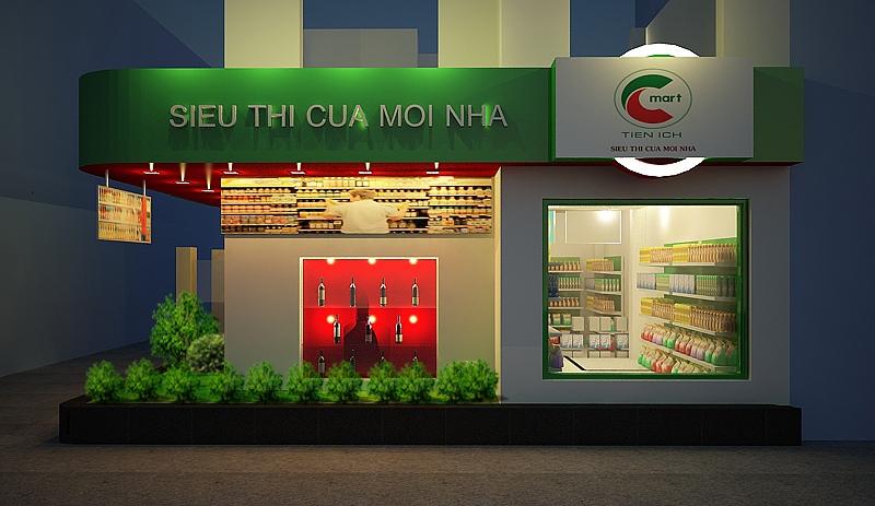 Thiết kế nội thất siêu thị bày trí bên ngoài và bên trong đẹp mắt