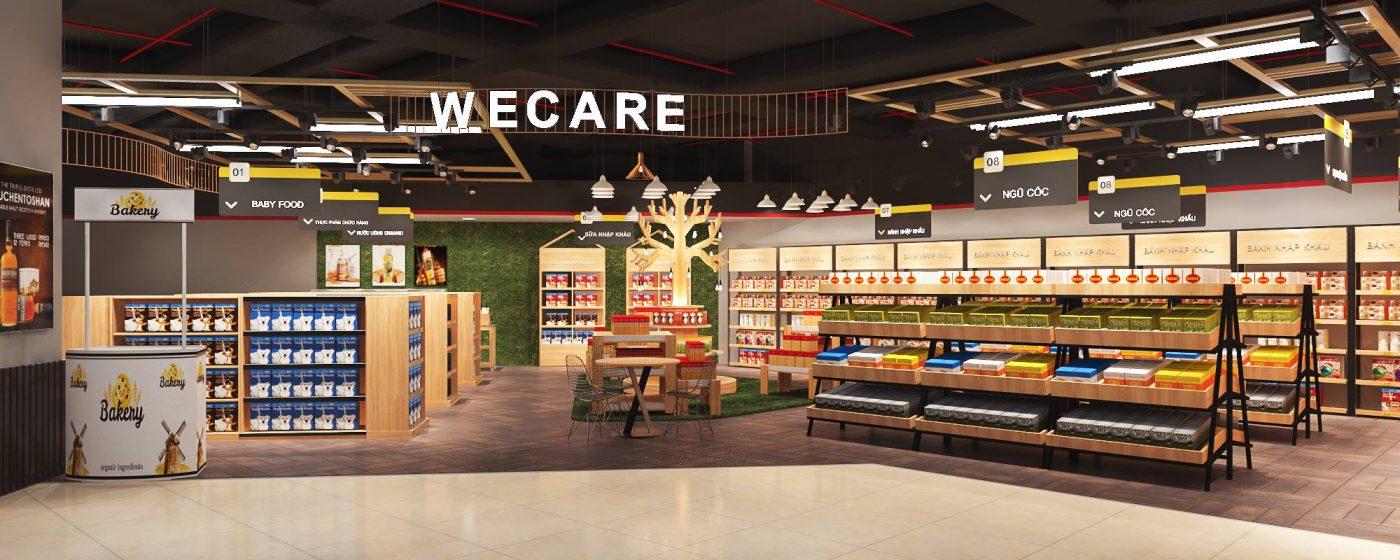 Bố trí siêu thị vừa tận dụng cả ánh sáng tự nhiên và ánh sáng nhân tạo giúp tăng thêm vẻ đẹp mặt hàng