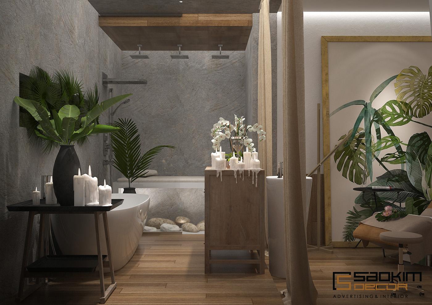 Thiết kế nội thất spa tinh tế với gỗ kết hợp cùng phào chỉ gam màu trắng tinh khôi