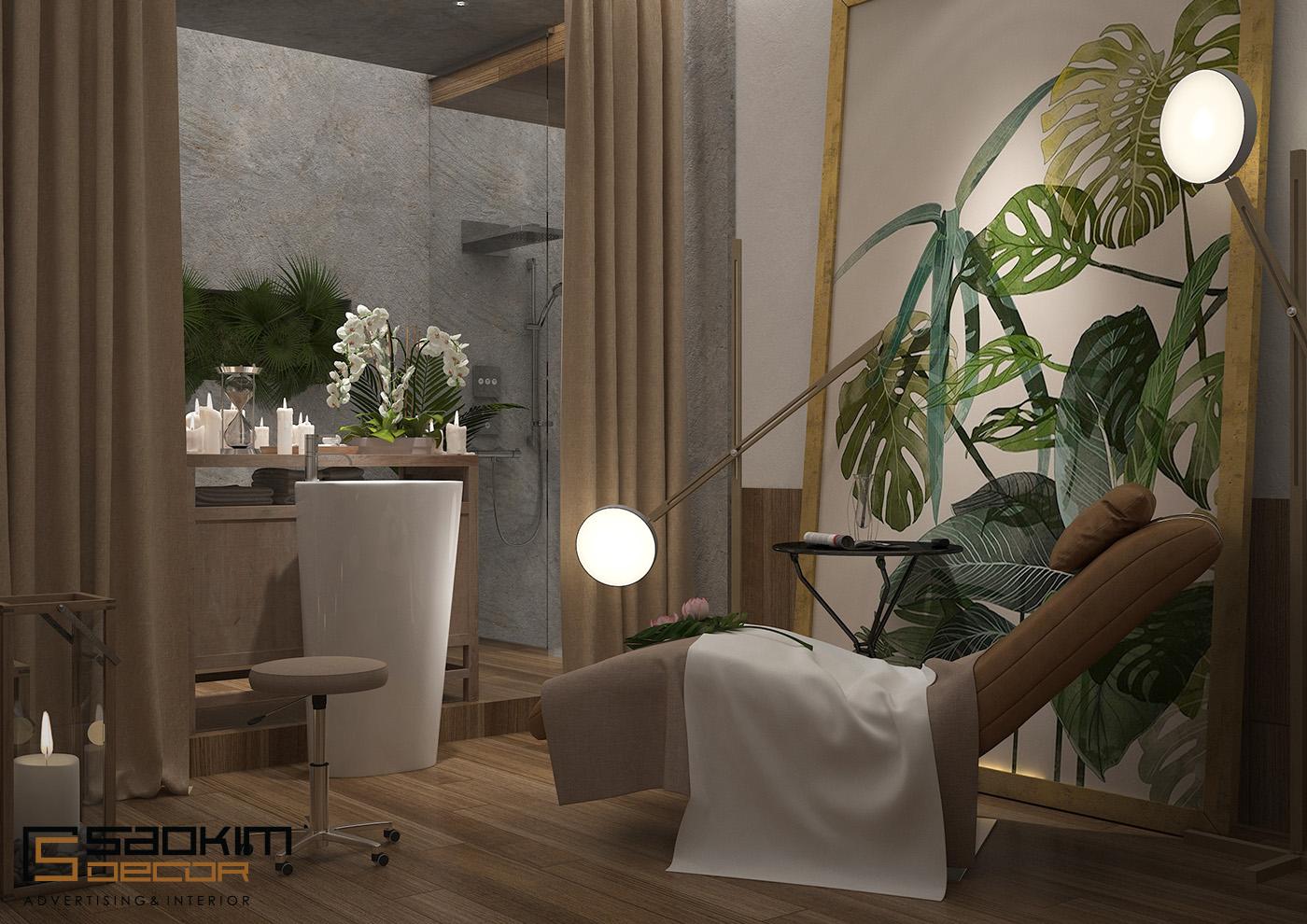 Sắc xanh được điểm tô vào không gian thiết kế spa tại Hà Nội