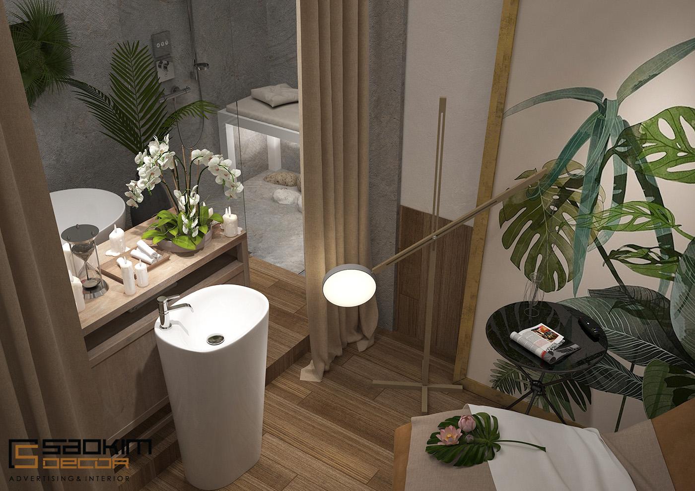 Thiết kế nội thất spa sử dụng chủ yếu ván gỗ