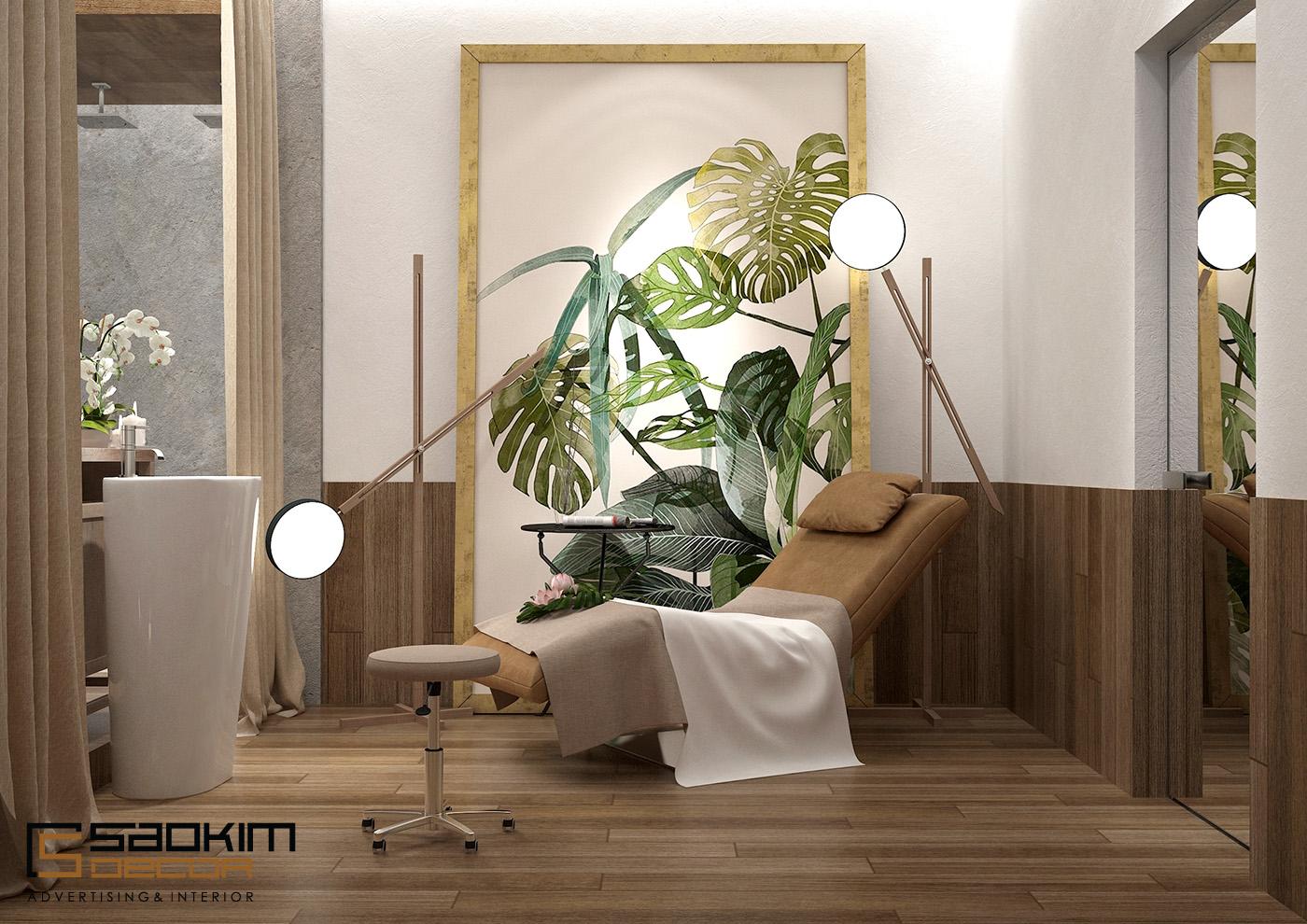 Màu trắng là gam màu chủ đạo trong thiết kế spa chuyên nghiệp