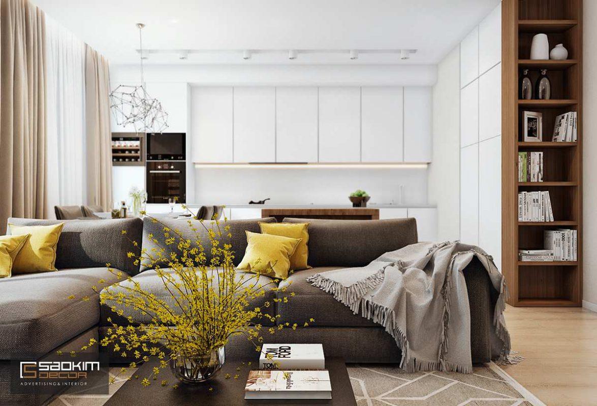 Thiết kế nội thất phòng khách chung cư Golden Land