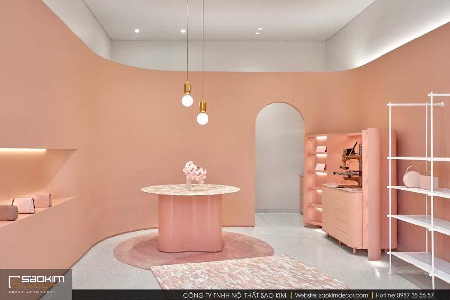 Thiết kế cửa hàng túi xách màu hồng cực xinh