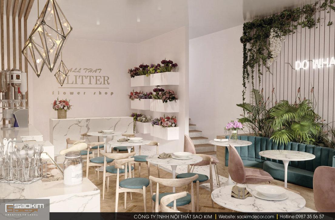 Thiết kế nội thất cửa hàng cafe kiêm shop hoa