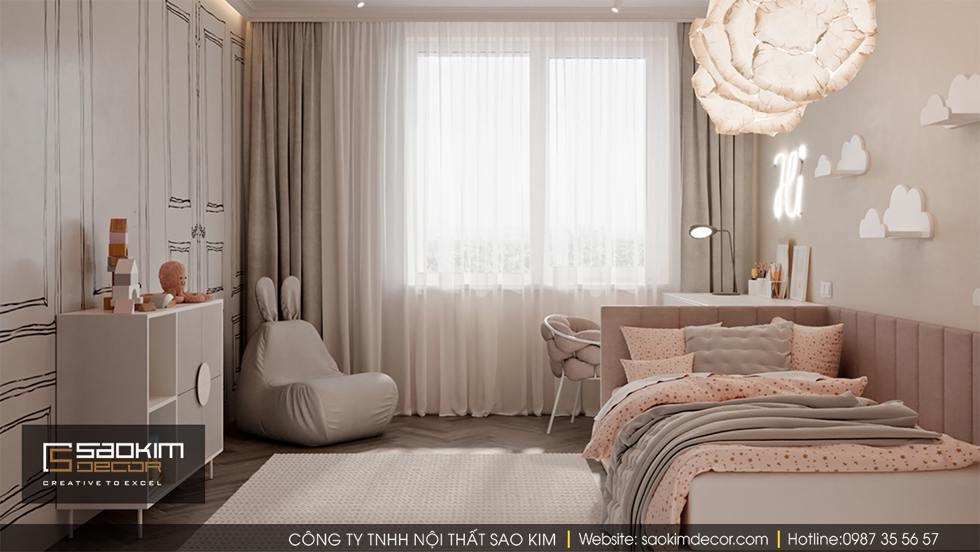 Thiết kế phòng ngủ chung cư bé gái Dream Center Home