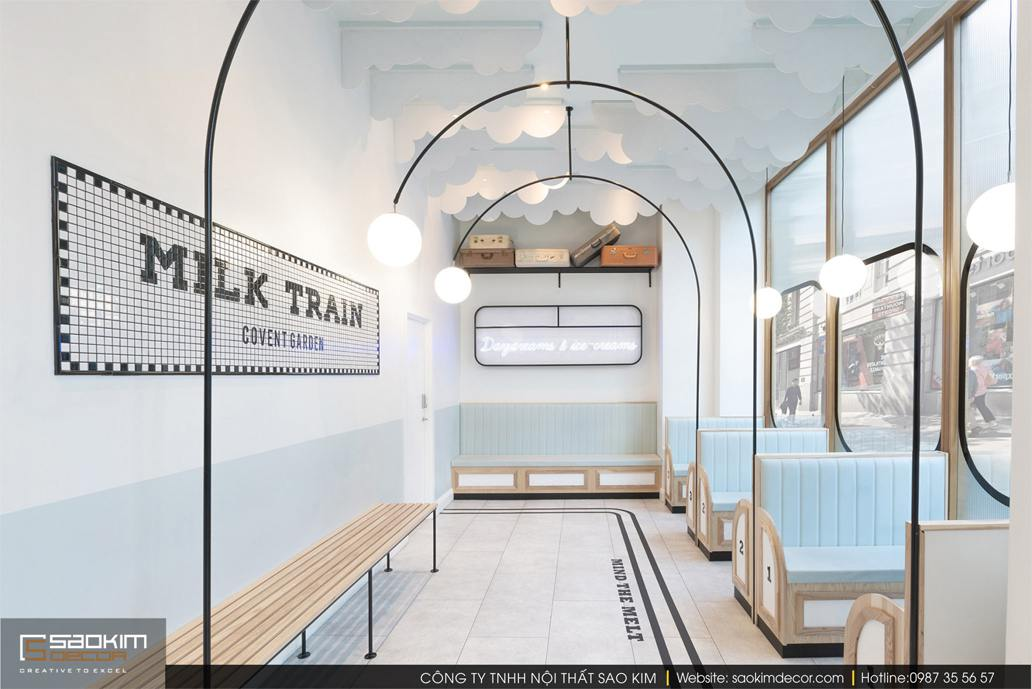Thiết kế nội thất cửa hàng cafe Milk Train
