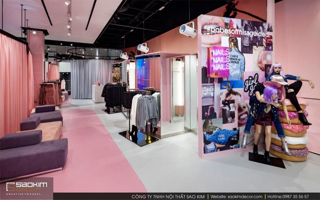 Thiết kế nội thất shop thời trang đẹp Missguided