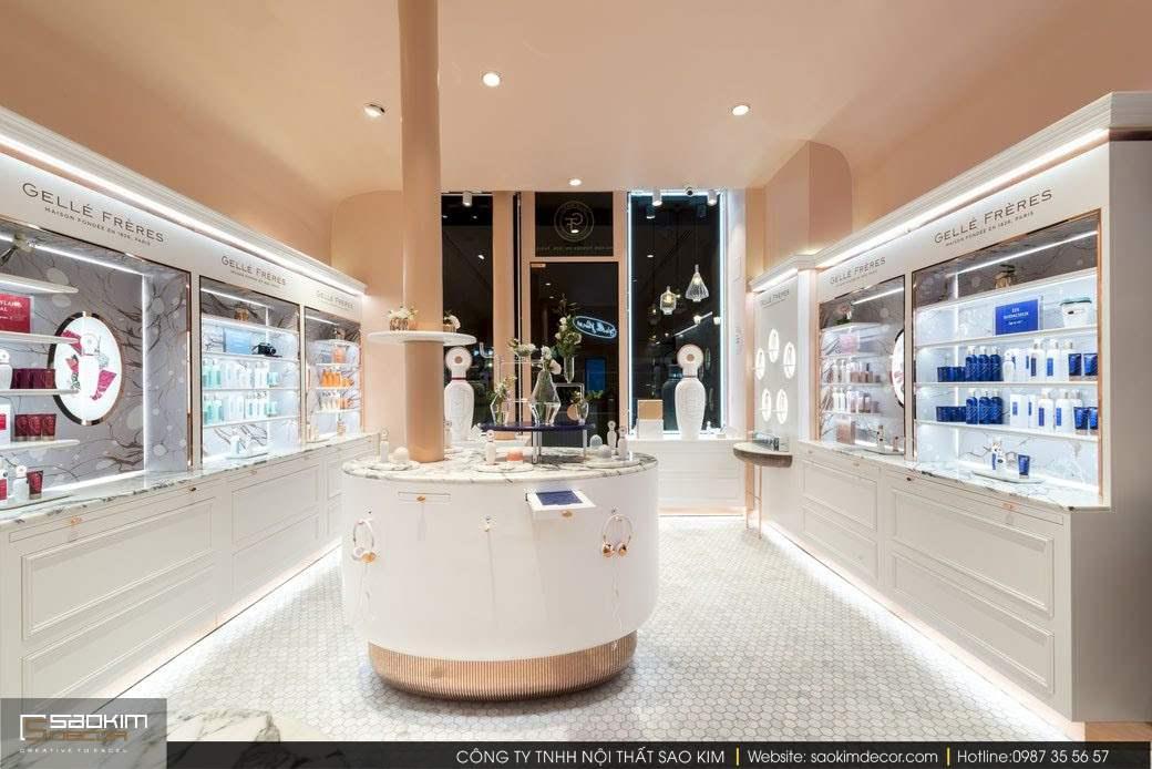 Thiết kế nội thất showroom mỹ phẩm Gellé Prères