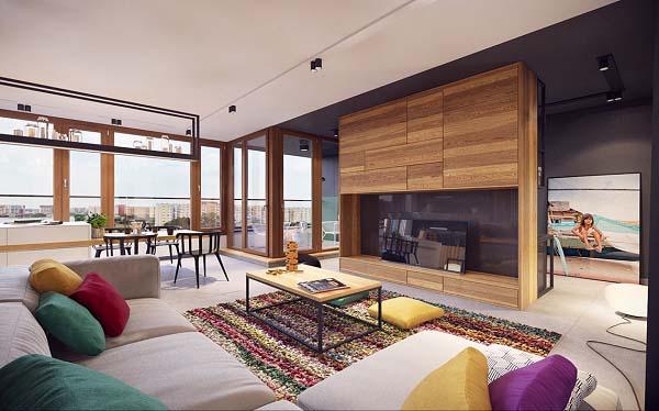 Một chút sắc màu nổi bật cùng thiết kế độc đáo, ấn tượng cho căn hộ chung cư