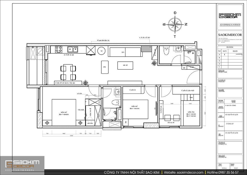 Bản vẽ mặt bằng thiết kế nội thất chung cư 3 phòng ngủ Sky Central