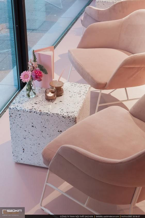 Thiết kế nội thất shop mỹ phẩm gam màu hồng pastel
