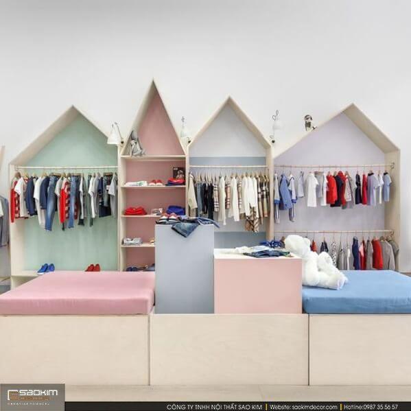 Thiết kế nội thất siêu thị mini mẹ và bé, nên sử dụng những gam màu nổi bật