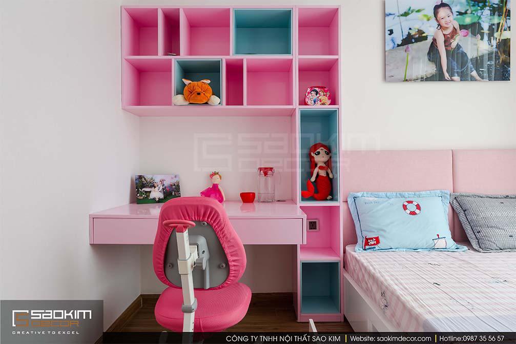 Thiết kế phòng ngủ chung cư bé gái Vinhome Metropolis Liễu Giai