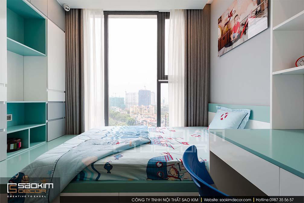 Thiết kế phòng ngủ chung cư bé trai Vinhome Metropolis Liễu Giai