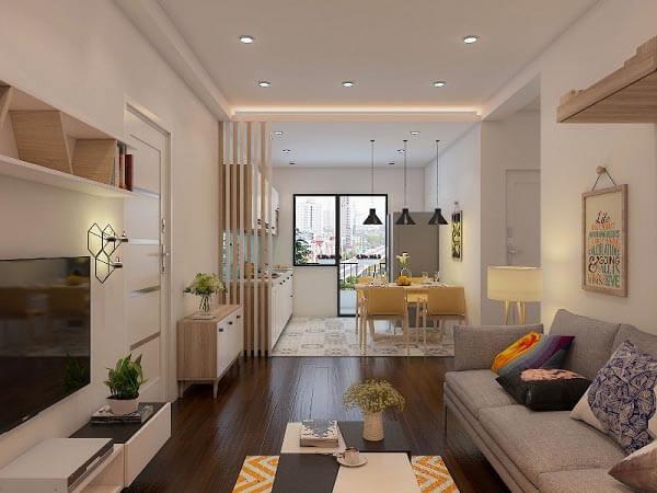 Việc bố trí nội thất và tone màu hài hòa làm nên nét đẹp cho chung cư 1 phòng ngủ