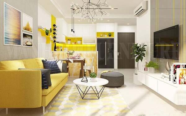 Tone màu ấm được kết hợp hài hòa tạo nên vẻ đẹp sinh động cho căn hộ của bạn