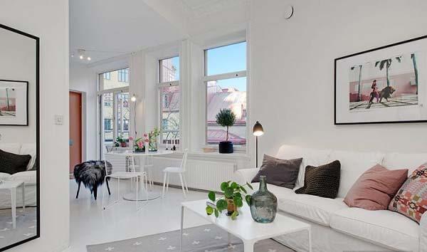 Gam màu trắng sáng tạo nên vẻ đẹp hiện đại cho căn hộ