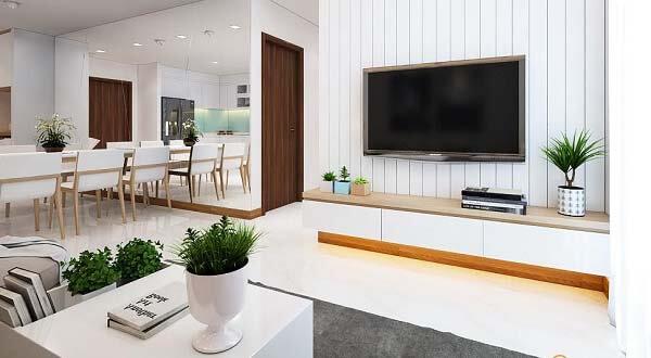Với diện tích khoảng 100m2 với 3 phòng ngủ cùng gam màu sáng và điểm nhấn đã tạo nên nét sang trọng, đẳng cấp cho căn hộ trên.