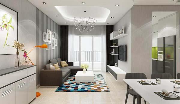 Thiết kế nội thất căn hộ nhỏ 2 phòng ngủ với gam màu sáng và điểm nhấn hiện đại tạo nên không gian sang trọng cho căn nhà của bạn.