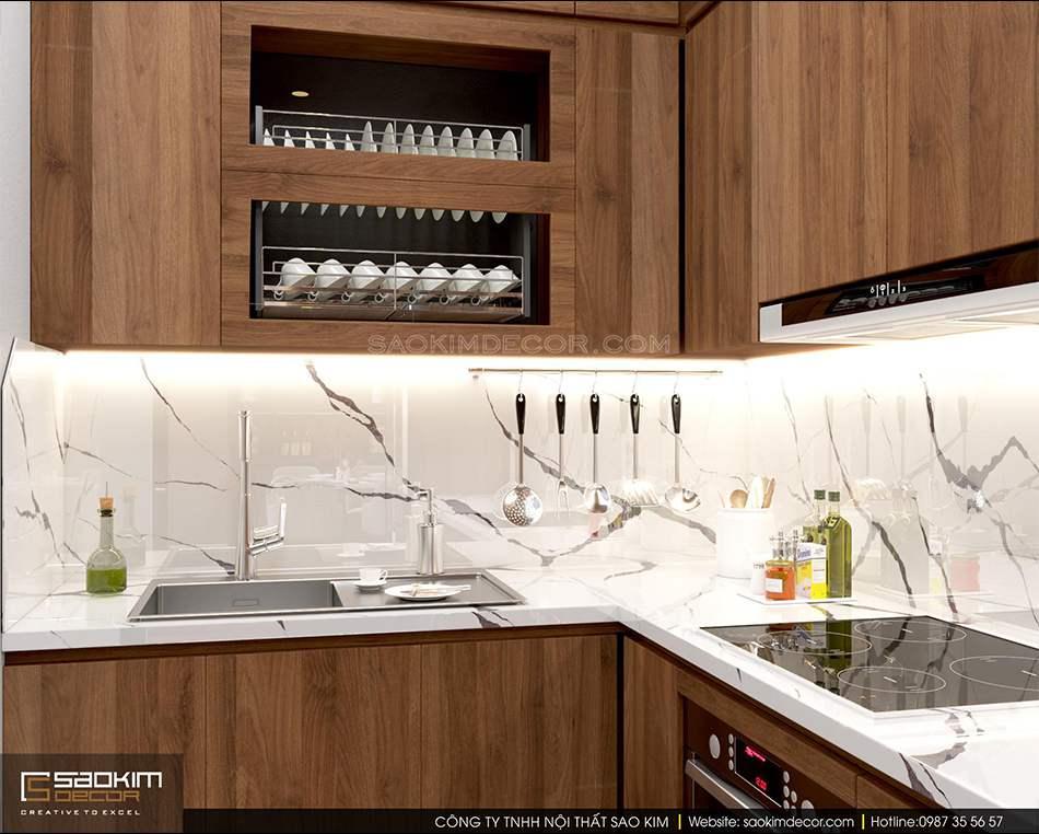 Thiết kế nội thất phòng bếp chung cư FLC Garden City hiện đại, ấm cúng