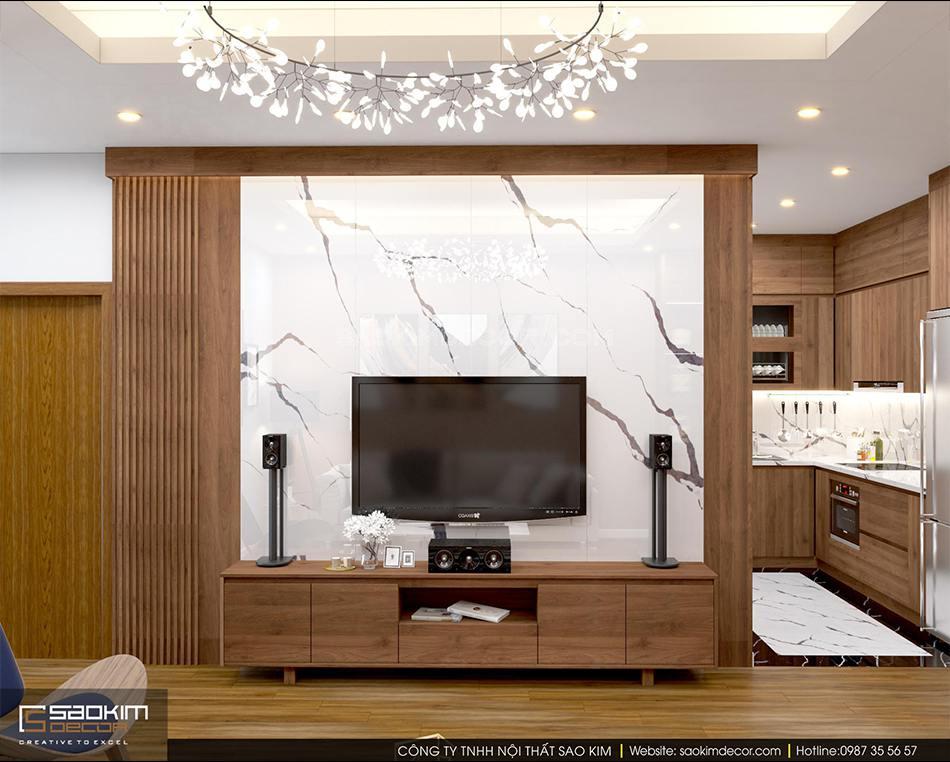 Thiết kế nội thất phòng khách chung cư FLC Garden City