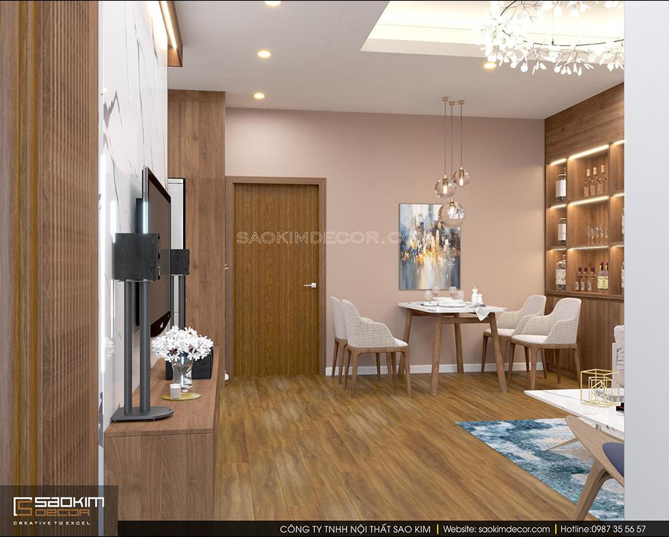 Thiết kế nội thất phòng khách và phòng ăn chung cư FLC Garden City