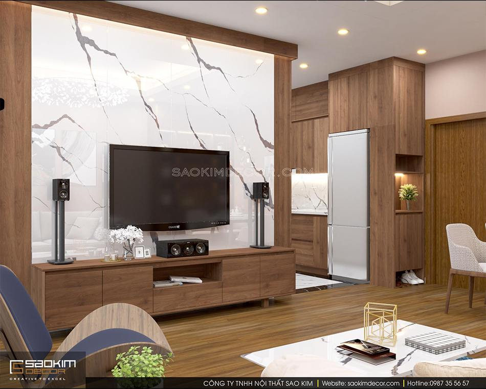 Thiết kế nội thất phòng khách chung cư FLC Garden City với phong cách hiện đại