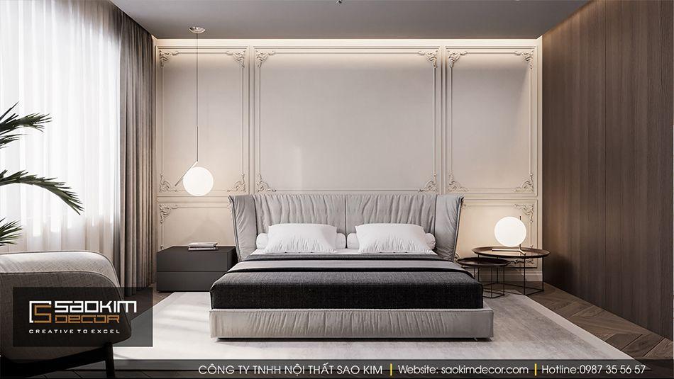 Thiết kế nội thất phòng ngủ master chung cư Vinhome Ocean Park
